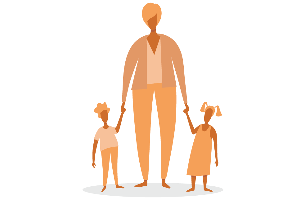 An illustration of a business woman holding the hands of her two kids to demonstrate maternal bias