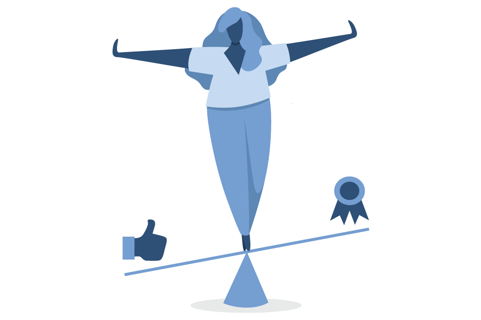 An illustration of a woman on a balance beam trying to balance being likable and productive to illustrate likability bias