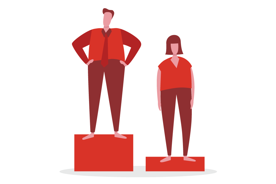 An illustration of a man standing on a pedestal above a woman standing on a shorter pedestal to demonstrate performance bias