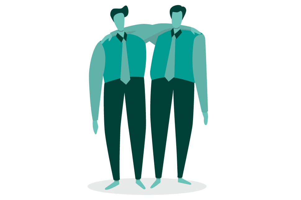 An illustration of two men in suits with their arms around each other to represent affinity bias