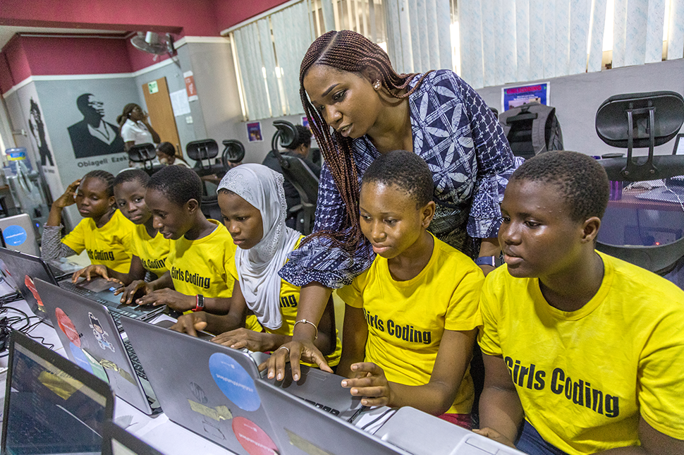 The Lady Labs Innovation Hub in Lagos Nigeria. Beneficiaries of the GirlsCoding project receive training on computer programming through the support of Pearls Africa Foundation, which was founded by Abisoye Ajayi Akinfolarin