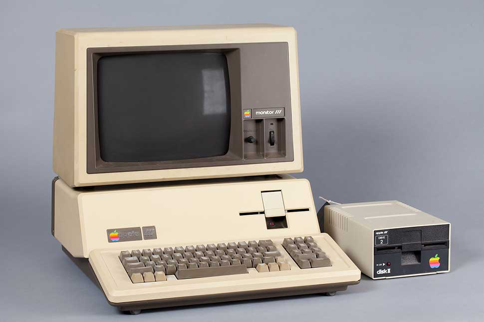 Apple III personal computer with monitor and disk drive