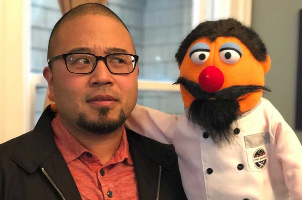 Greg Garcia holds a puppet used for mental health conversations.