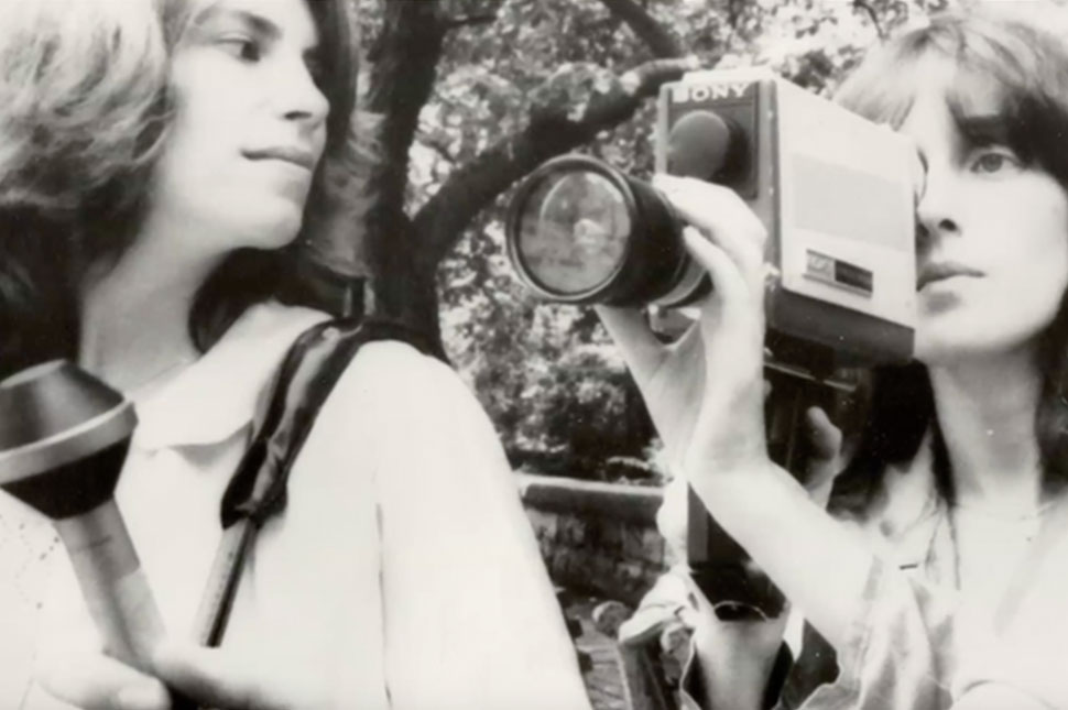 Wendy Apple and Rita Ogden hold a Portapak camera. Photo by Paul Goldsmith