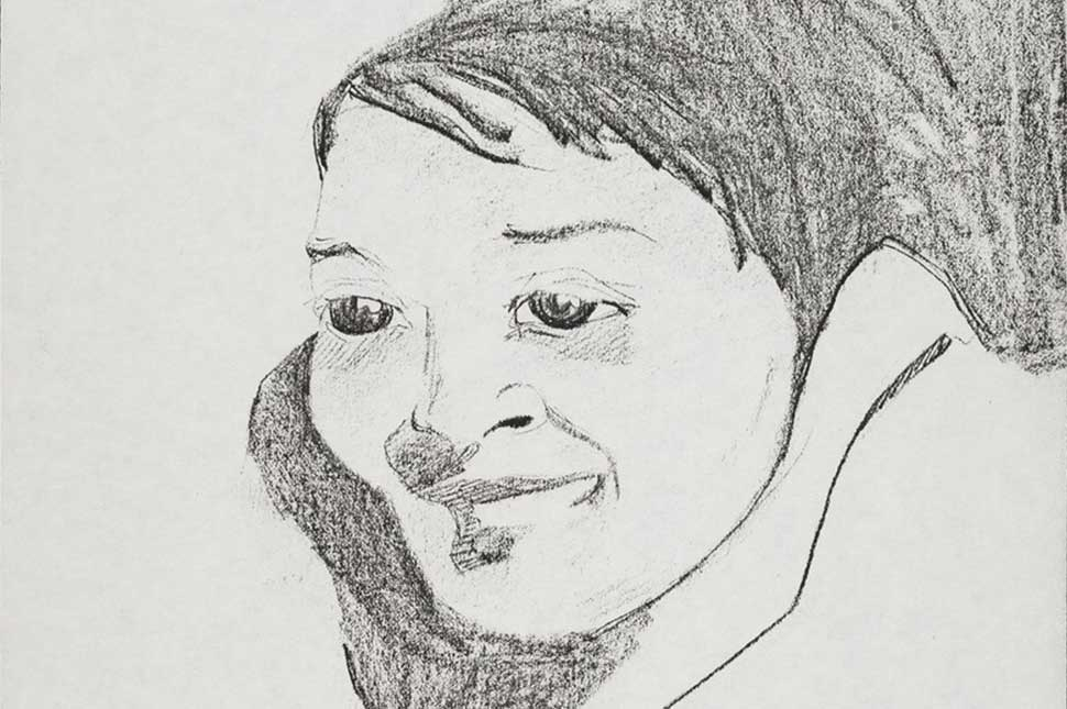 A drawing by Rachel West of a woman's face
