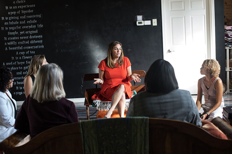 Amy Nelson interacts with Listening Tour participants in Columbus, OH. Photo Credit - Emma Kate Low