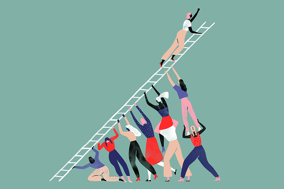 An illustration of a group of people holding up a ladder while a woman climbs to the top.