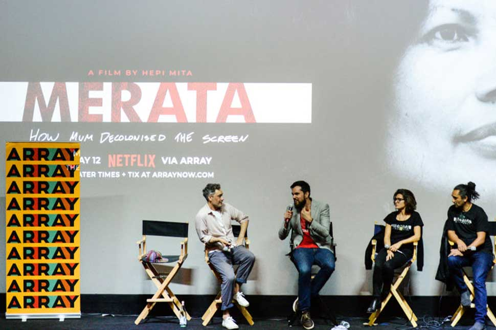 """Film directors Taika Waititi, Hepi Mita, film producers Chelsea Winstanley, and Cliff Curtis attend the """"MERATA: How Mum Decolonised the Screen"""" Screening/Q&A at the Ahrya Fine Arts Movie Theater on May 12, 2019 in Beverly Hills, California."""
