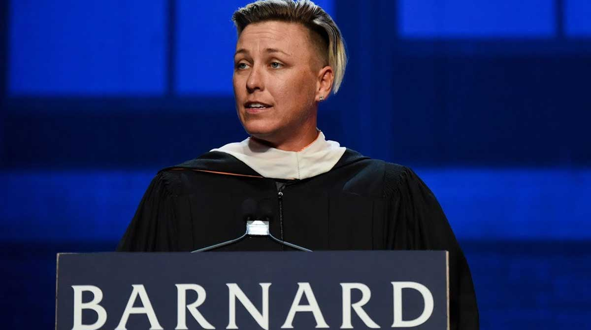 Abby Wambach delivers the commencement speech at Barnard College in 2018