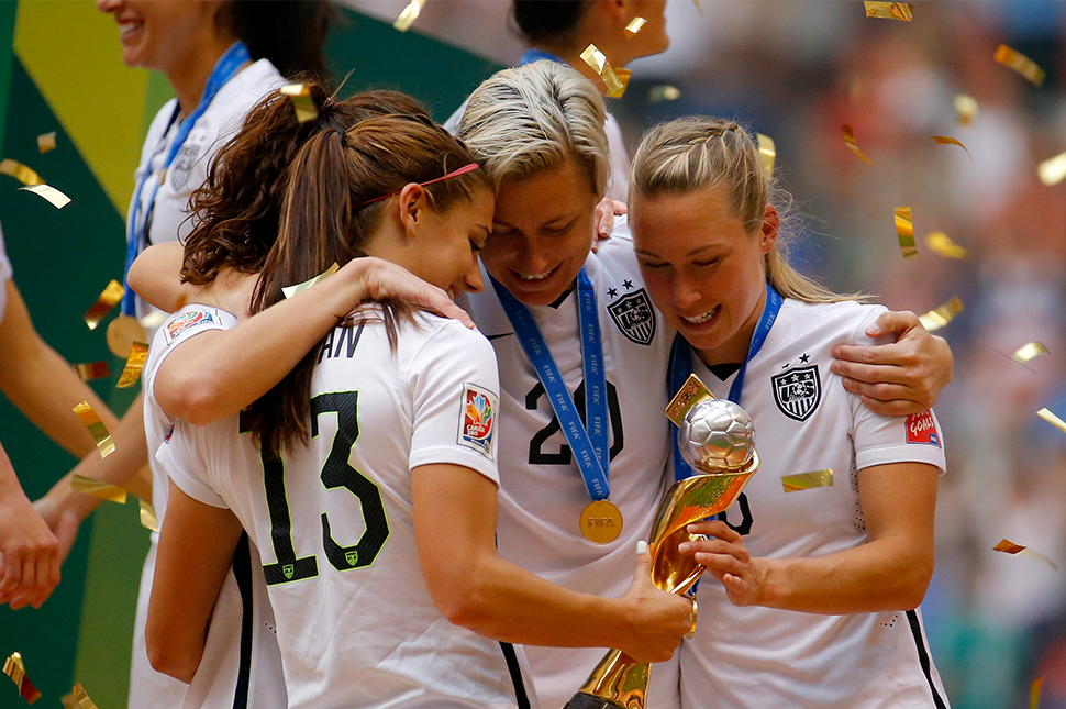 Abby Wambach celebrates winning the World Cup with her U.S. National Team teammates.