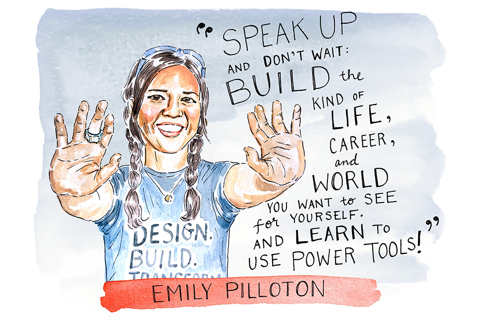 Illustration of Emily Pilloton by Kimothy Joy