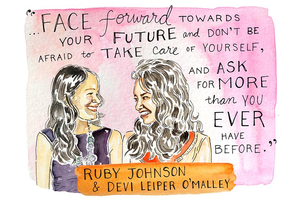 Illustration of Ruby Johnson and Devi Leiper O'Malley by Kimothy Joy