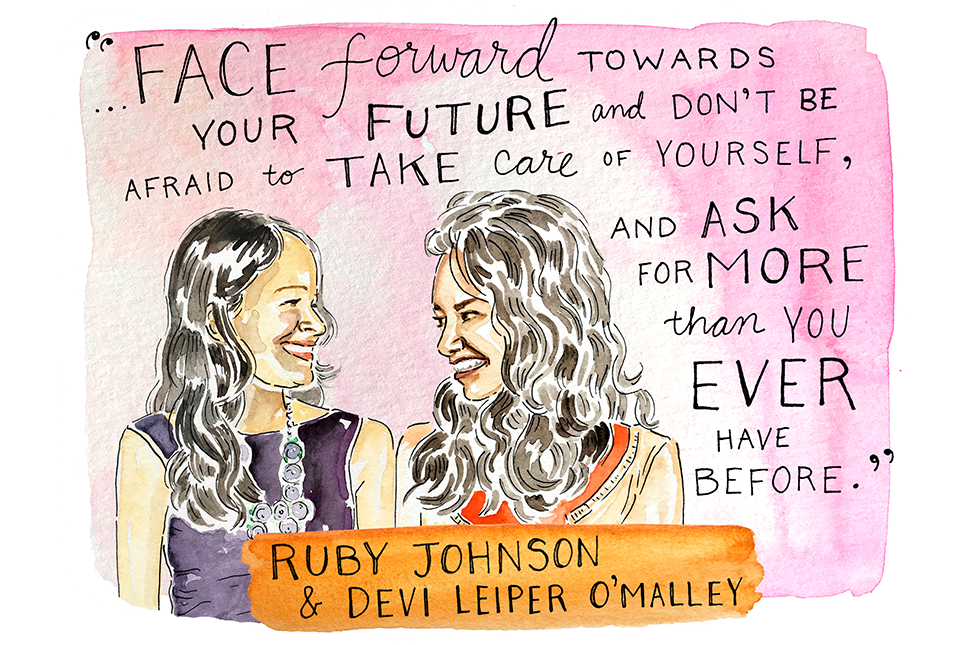 Illustration of Ruby Johnson and Devi Leiper O'Malley by Kimothy Joy