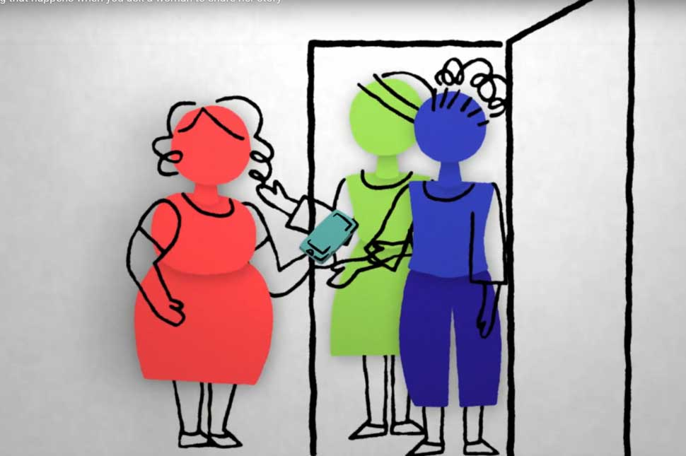 Illustration from video about asking women their stories
