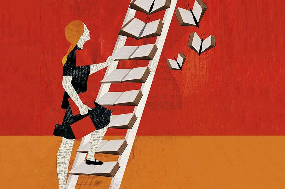 Illustration of a woman climbing a ladder made out of books