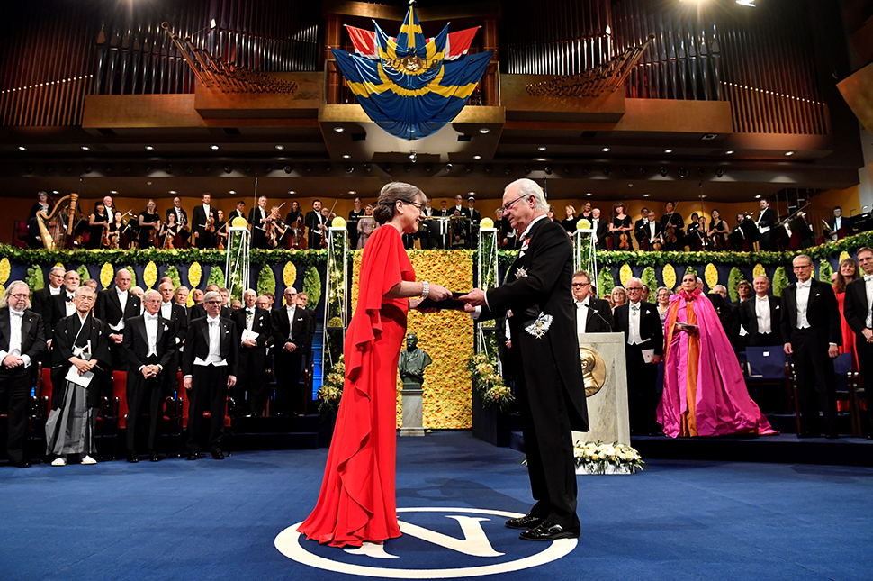 Canadian physicist Donna Strickland poses with her Nobel Prize during the award ceremony in 2018. That year marked the first time two female scientists won the Nobel Prize.