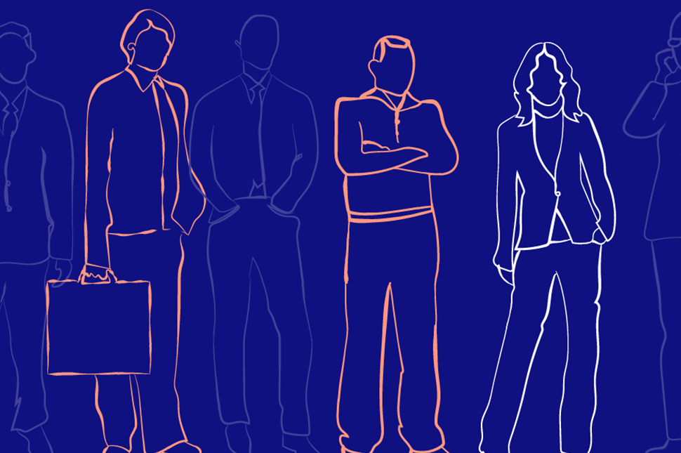 An illustration of a diverse group of people in business attire standing next to each other.