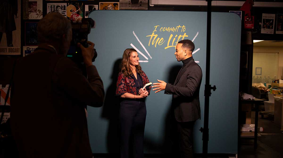 Melinda Gates and John Legend speak about committing to lift up women in society.