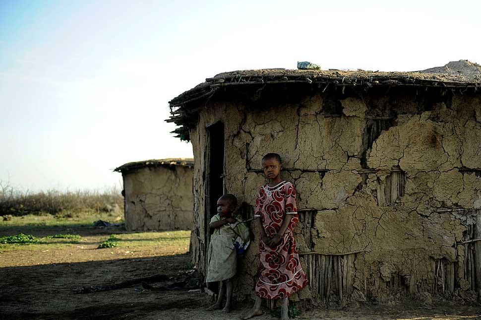 Young Maasai girls at a traditional village near Narok, some 105 miles west of Nairobi
