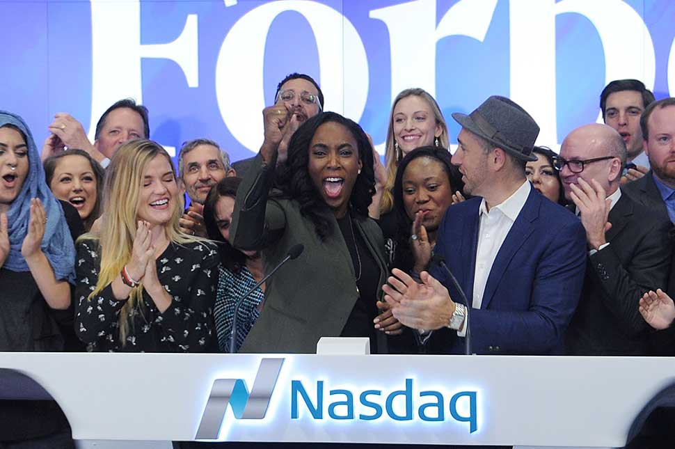 "Jessica Matthews rings the opening bell during Forbes ""30 Under 30"" Rings The NASDAQ Opening Bell at NASDAQ on January 25, 2016 in New York City."