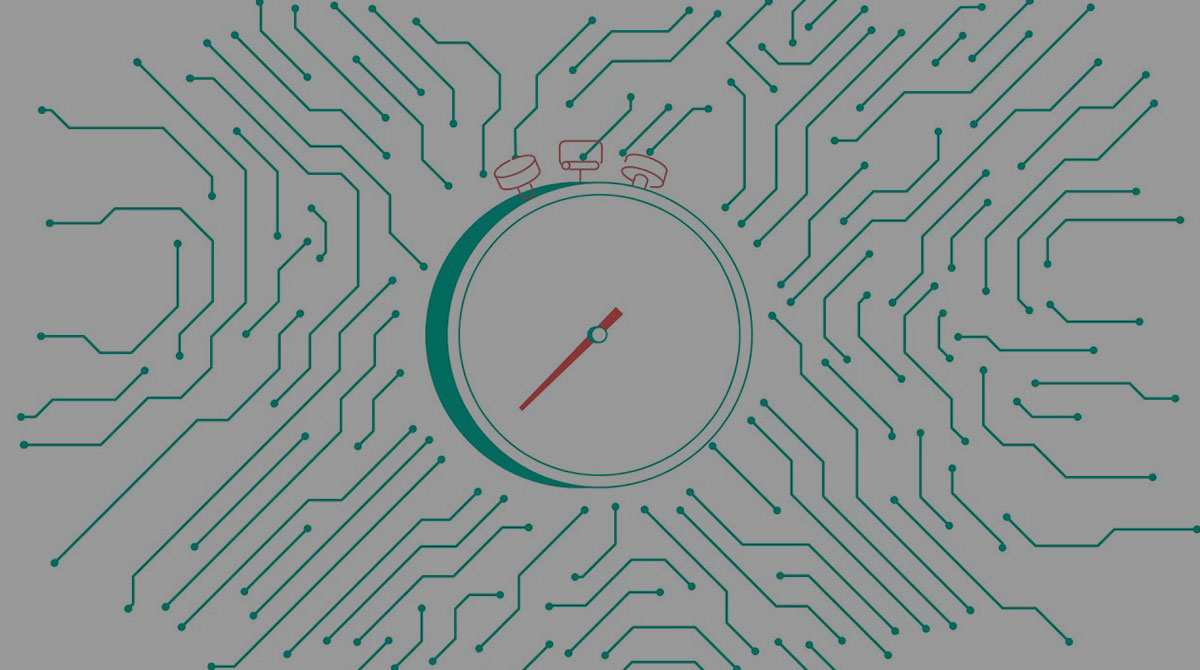 Illustration of a clock over a circuit board