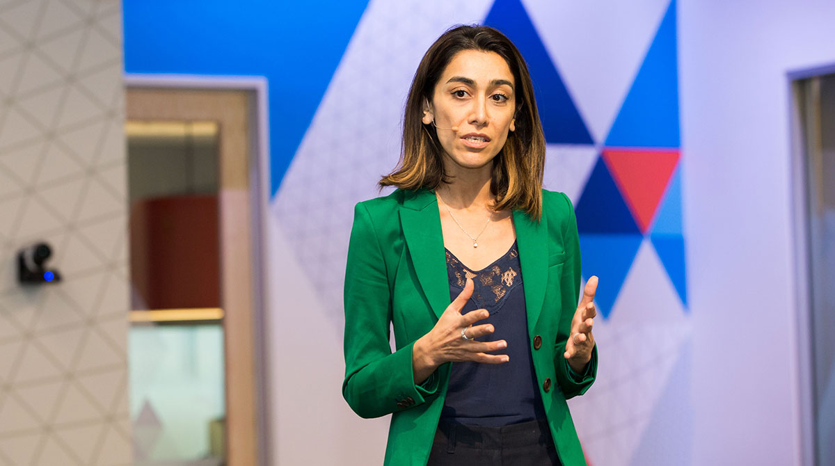 Zara Riahi Contilio delivers her pitch at the Female Founders Competition in 2018