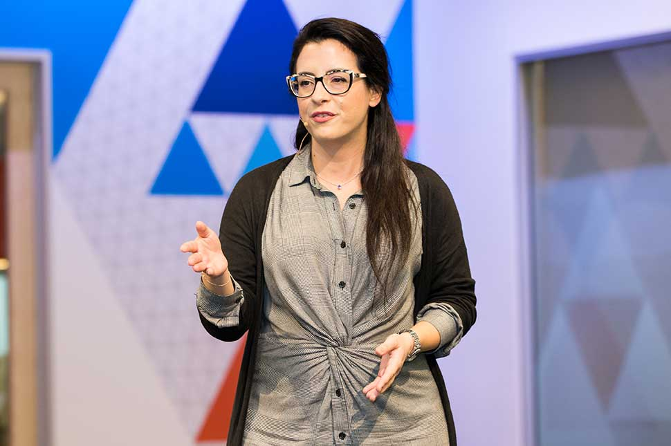 Co-founder and Chief Risk Officer of Verge.Capital Ioanna Stanegloudi delivers her pitch at the 2018 Female Founders Competition finals event. (Rebecca Wilkowski Photos)