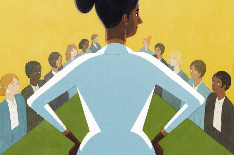 Illustration of a woman wearing a white shirt standing at the head of a long corporate boardroom table