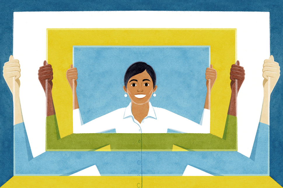 Illustration of a woman holding a frame within concentric frames being held by other women.
