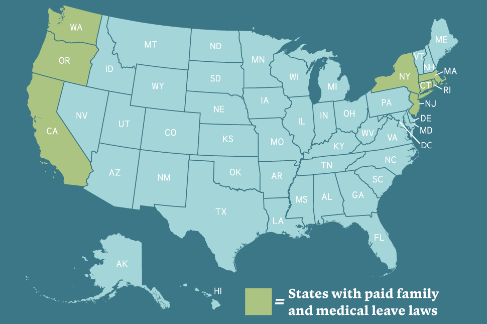 A map of the United States showing the eight states (along with the District of Columbia) which guarantee state-wide Paid Family and Medical Leave
