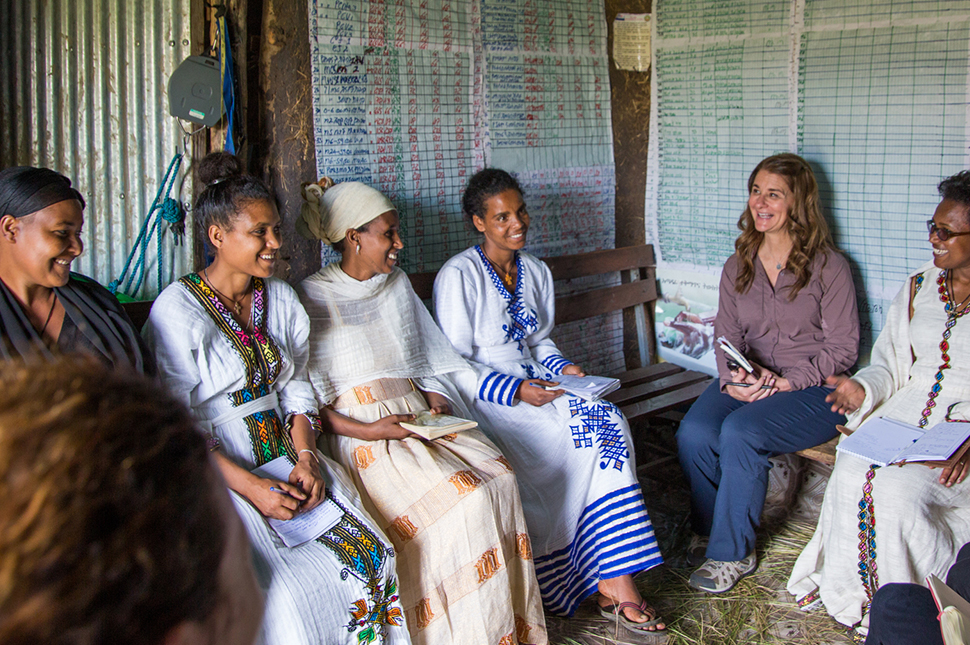 "Melinda Gates meets with health extension workers from the Adolescent 360 ""Smart Start"" family planning program during a visit to the Alem Ber Zuria health post in Ethiopia."