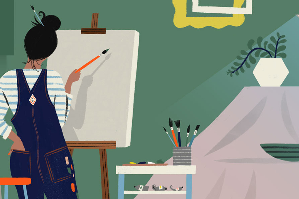 Illustration of a woman painter in overalls preparing to paint a portrait of a plant in a vase that sits on a table in front of her.