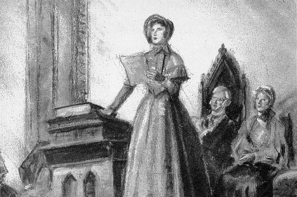A drawing of Elizabeth Cady Stanton at the Seneca Falls Convention, standing on a platform giving a speech to a crowd in front of a white man and a white woman,