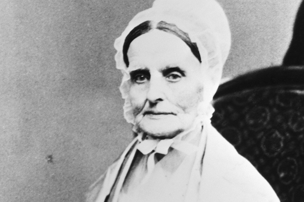 A black and white portrait of suffragist Lucretia Mott