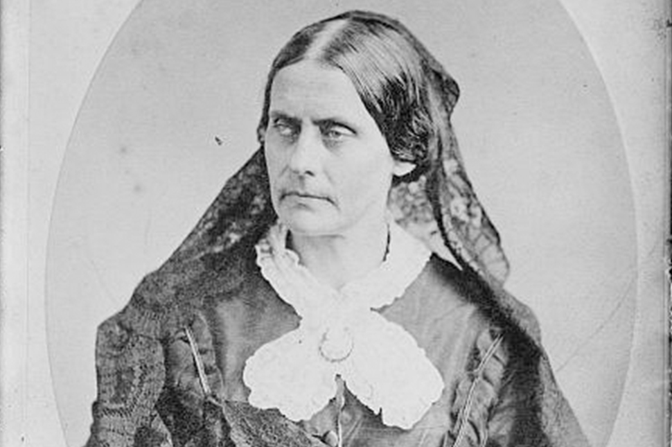 A black and white portrait of Susan B. Anthony