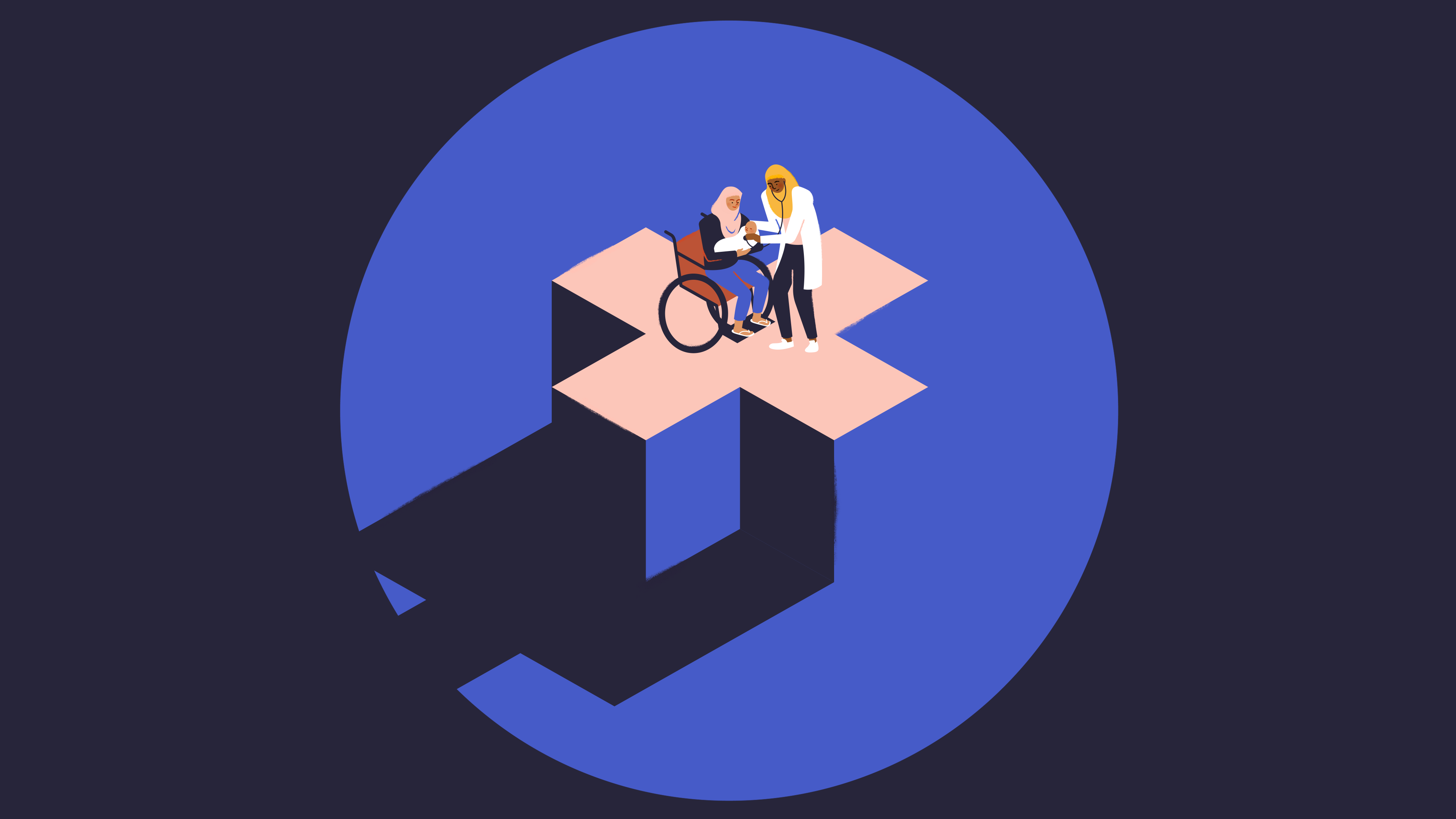 A healthcare provider supports a woman in a wheelchair on a raised platform shaped like a medical cross