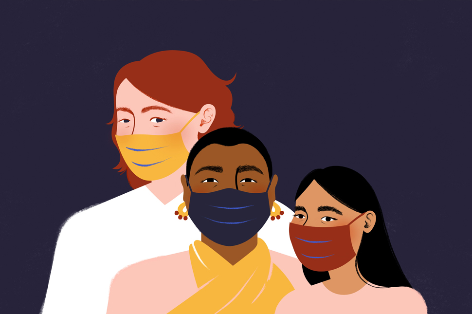 an illustration of three women of different races wearing masks to prevent the spread of disease