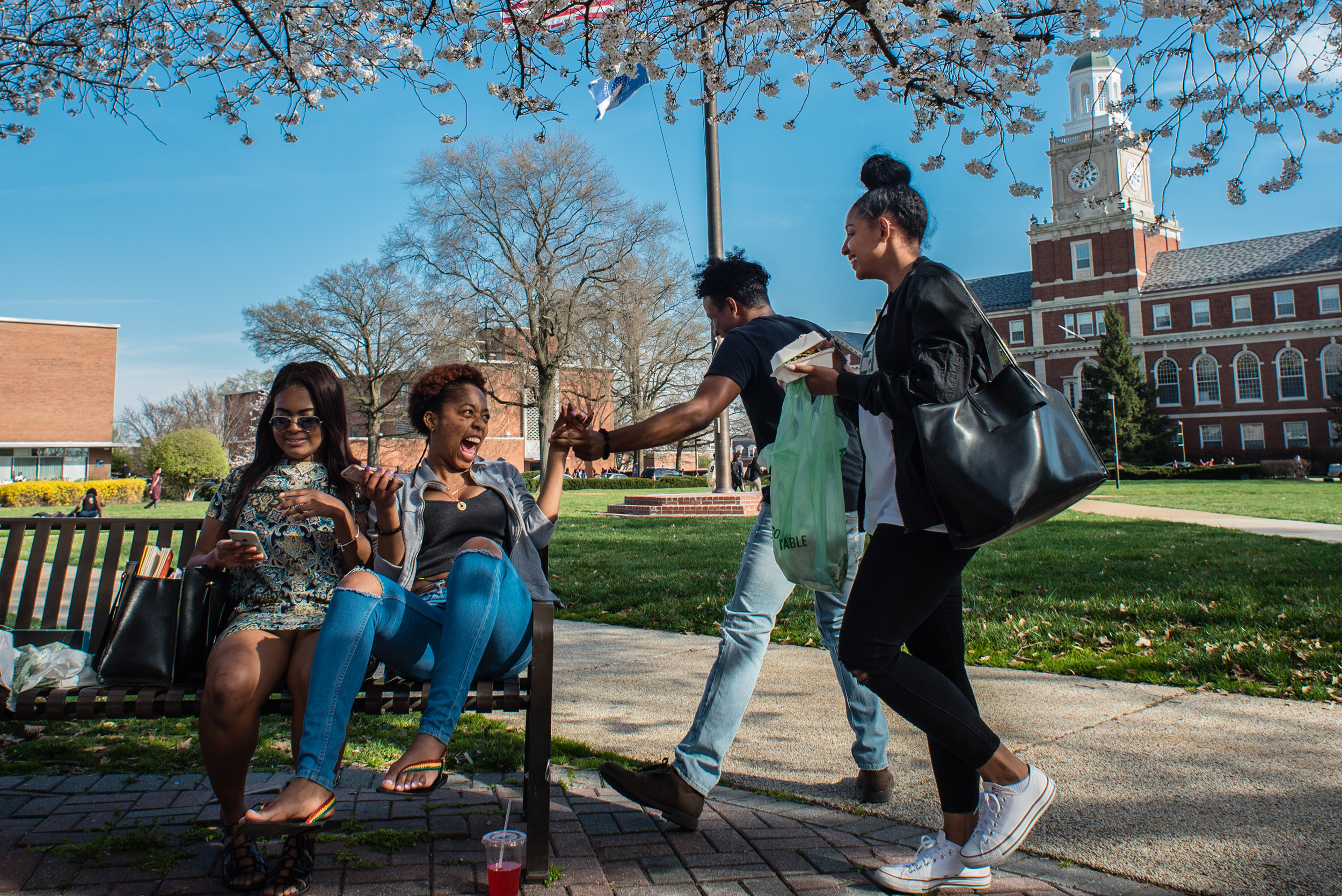 Students socialize between classes on the Yard at Howard University.