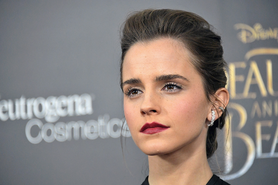 A portrait of Emma Watson at an event
