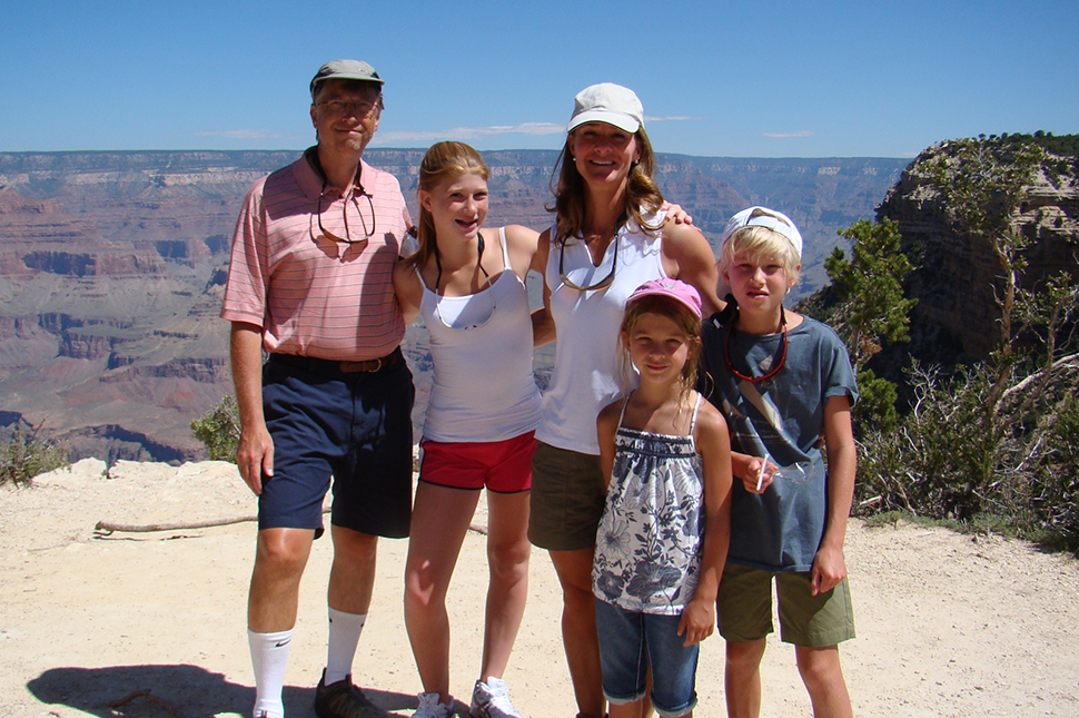 The Gates family stands for a family portrait after hiking at the Grand Canyon