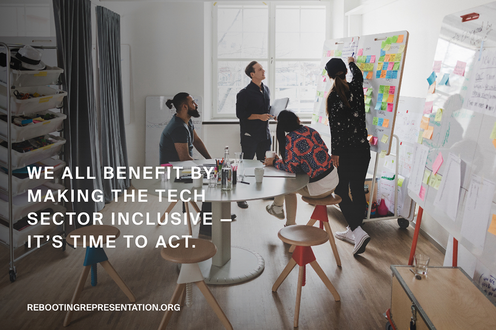 """A photo of people working together with the text """"We All Benefit by making the tech sector more inclusive"""" - It's time to act."""