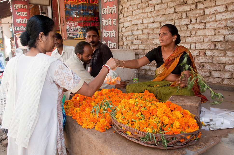 Kamla Devi, at her roadside flower shop in the Uttam Nagar locality of New Delhi.She uses an SBI EKO mini savings account which she can operate hrough her mobile phone at various SBI Eko Customer Service Points. She is now able to save money for her flower business and has also been able to pay for her daughter's wedding.