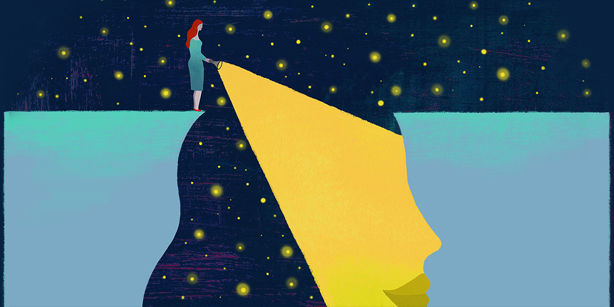 Illustration of a woman standing on a cliff shining a flashlight into a space below. The space is shaped like a woman's head.