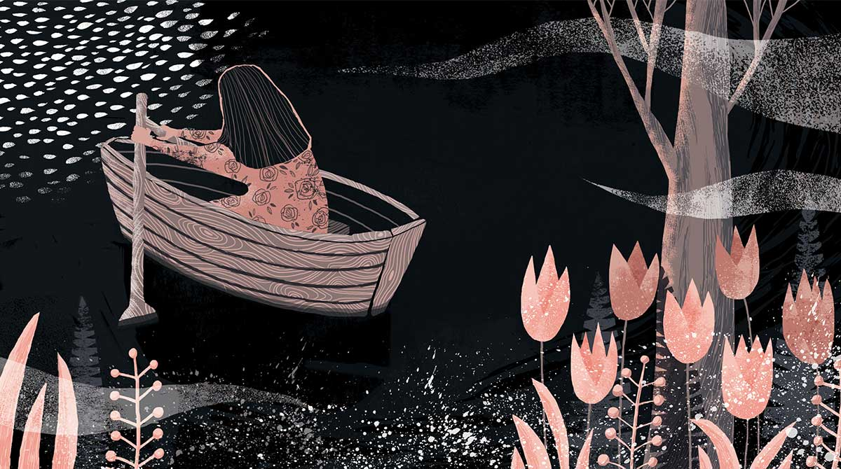 Woman rowing her boat into a thicket of foliage