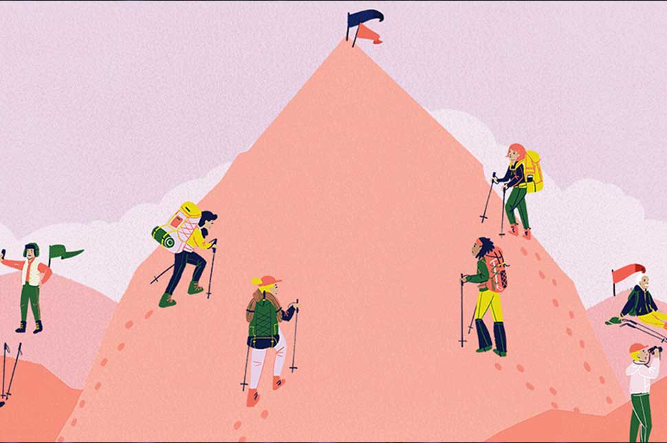 Illustration of women climbing a tall mountain while men relax atop shorter peaks