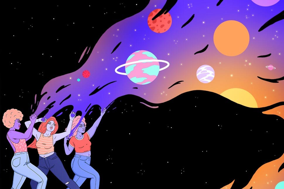 Three women stand with their arms up with space as a background. From their hands, they are tearing into the darkness revealing a brighter universe full of planets.