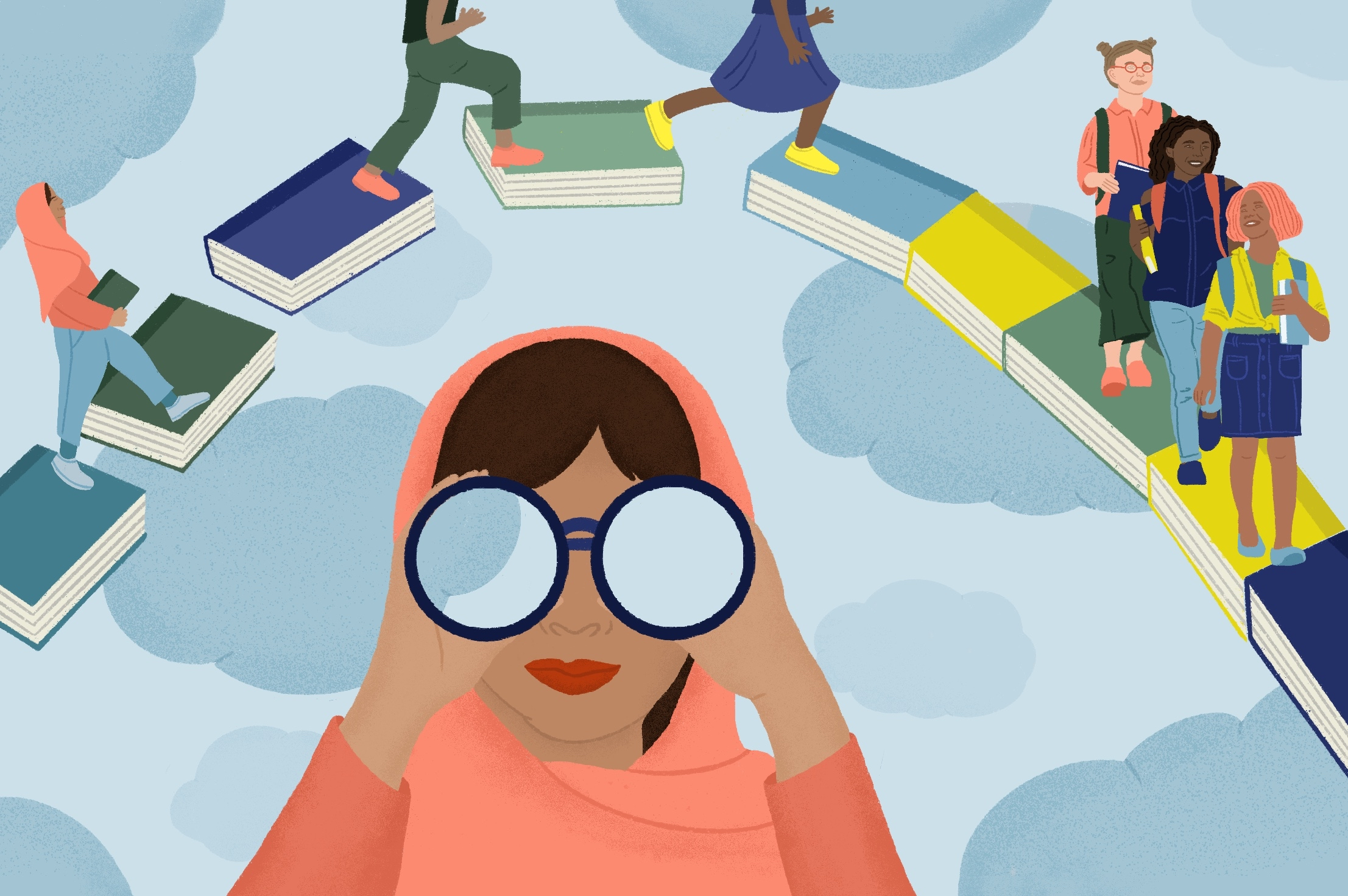 An illustration of a woman wearing a headscarf, looking toward you with binoculars while young women walk over a bridge of books floating in the sky in the background.