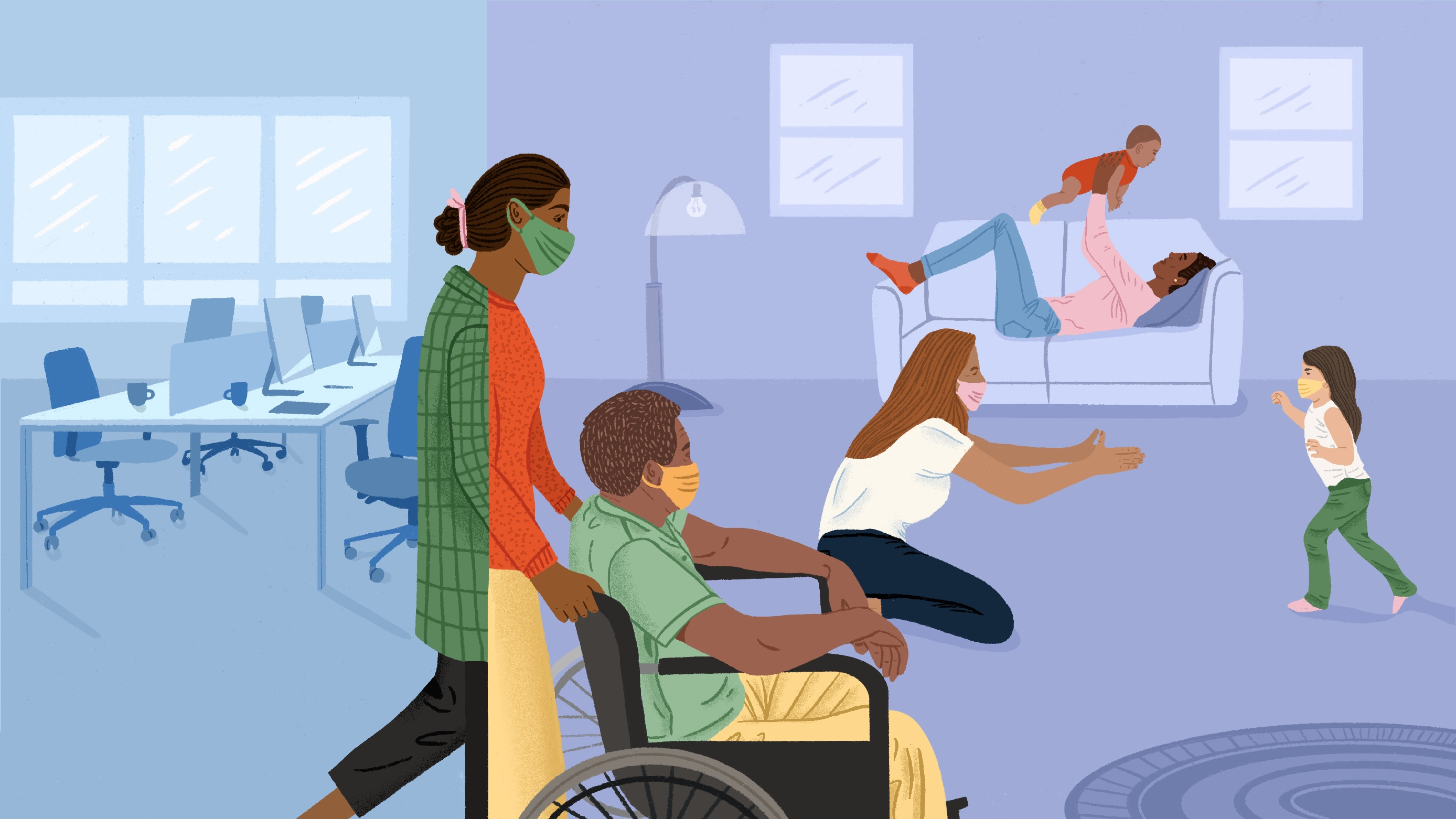 an illustration of a woman pushing a wheelchair with a person sitting in it. She is walking away from her office and into her living room where other women are caregiving in the background.