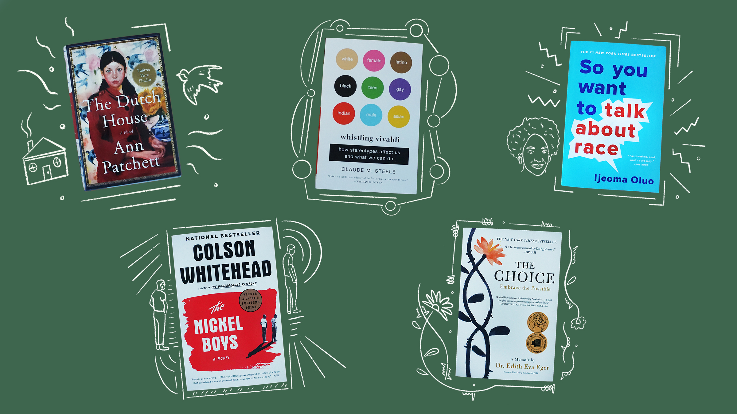 Illustration with five book covers of books recommended by Melinda Gates