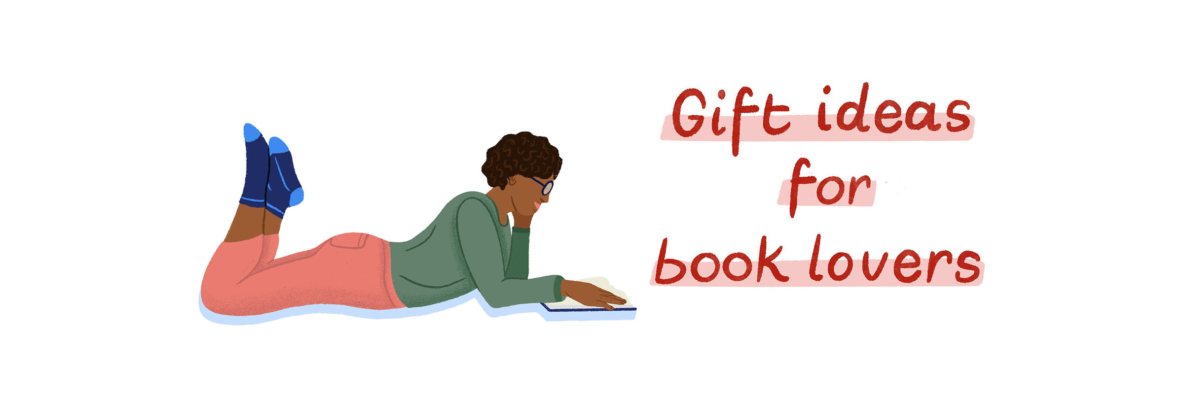 Illustration of a woman laying on her stomach reading a book